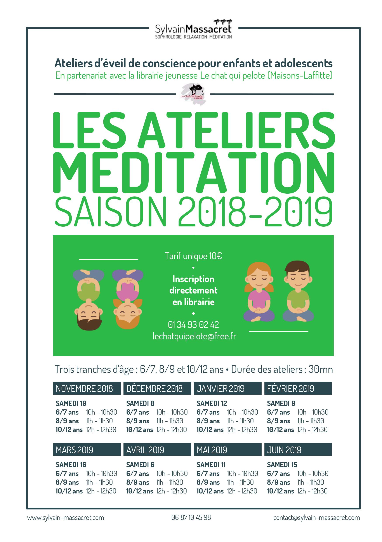 Flyer ateliers méditation enfants et adolescents
